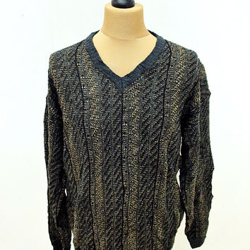 Vintage 80s Jantzen Striped Brown Grunge Bland Indie Sweater Jumper XL