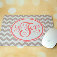 Gray Chevron + Monogrammed Mouse Pad + Office Accessories + Mousepad + Light Pink + Coral