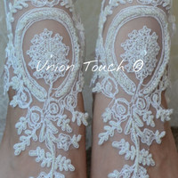 Lace Barefoot Sandals, Silver Chain Slave Anklets, ivory Pearl Beads, Elegant bride lace barefoot sandals, Beach Wedding, Bridal Accessory