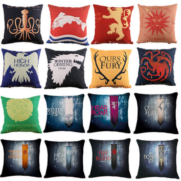 Game of Thrones Style Decorative Pillowcase Linen/Cotton Cushion Cover Printed Sofa Chair Seat 18X18 Inches decoracion Cojines