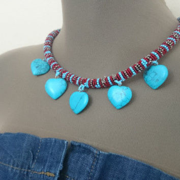 Beaded Rope Necklace with Turquoise Gemstone Heart,African Inspired Wrapped Beadwork,Turquoise Burgundy Gray Seed Bead Wrapped Rope Necklace