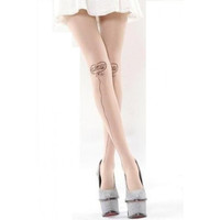 Sheer Pantyhose with Printed Tattoo - Heart Balloon