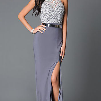 Dresses, Formal, Prom Dresses, Evening Wear: Open Back High Neck Dress G610 with Lace Bodice