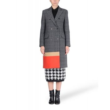 MSGM Color-Block Checked Coat - Gray Coat - ShopBAZAAR