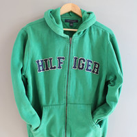 Tommy Hilfiger Zip Up Hoodie Green Hooded Sweatshirt Big Letter Fleece Lining Hoodie Grunge Jacket Minimalist Unisex 90s Vintage Size S - M