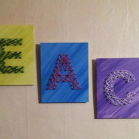Creative Colorful Handmade Nail and String Art peace letters 8x10 unique