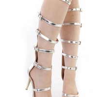Silver Strappy Single Sole Gladiator High Heels Faux Leather