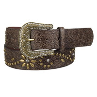 Flower stud embellished belt