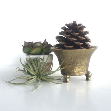 Small Vintage Etched Brass Planter
