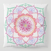 Decorative Coloured Flower Mandala Green Purple Blue Pink Floor Pillow by inspiredimages