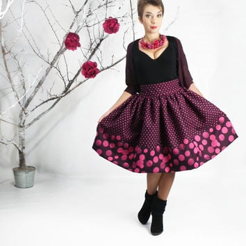 Midi Skirt - Tea Length Skirt, Full Circle skirt, High Waist Skirt, Polka dot Skirt, Winter Comfy skirt, 50's skirt, Midi Dress