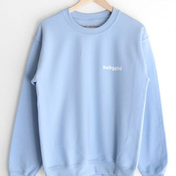 Babygirl Oversized Sweatshirt - Light Blue