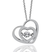 1/20ct tw Diamond Heart Drop of Life Necklace in Sterling Silver - Hearts - Diamond Necklaces & Pendants - Jewelry & Gifts