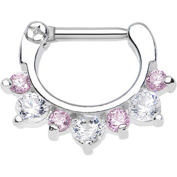 "14 Gauge 5/16"" Seven Pink and Clear Cubic Zirconia Septum Clicker"