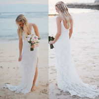 Lace Boho Beach Wedding Dress Slit Summer Bridal Dress Custom Size 0 2 4 6 8 10