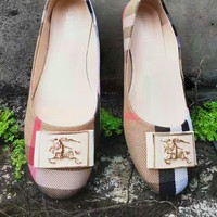 Burberry Slip-On Classic Popular Women Casual Leather Flats Shoes