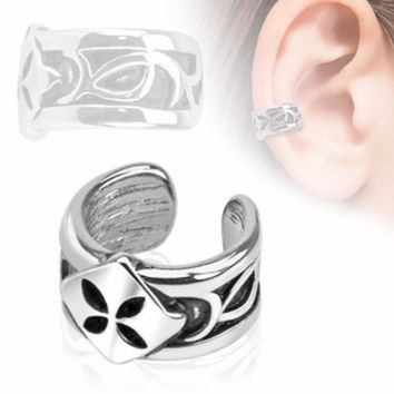 Four Leaf Shamrock Rhodium Plated Brass Non Piercing WildKlass Ear Cuff (Sold by Piece)