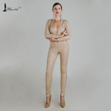 Missord 2016 Sexy O Neck Long Sleeve Sequin Jumpsuit Ft4767