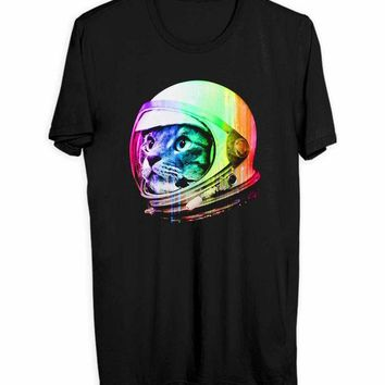 DCCKG72 Astronaut Space Cat Men T Shirts