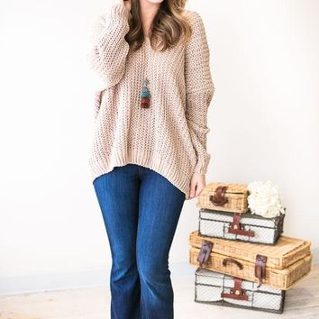 Melanie V-neck Loose Knit Sweater- Taupe