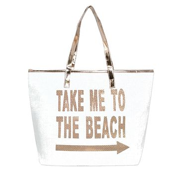 "Take me to the Beach"" Metallic Handle Tote Bag"