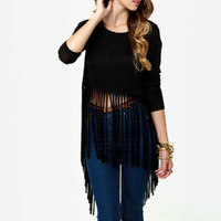 Black Solid Long Sleeve Fringe Cutton Slim Shirt