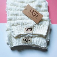 "Hot Sale ""UGG"" Autumn Winter Fashionable Knit Warmer Hat Cap Scarf Two Piece Set White"