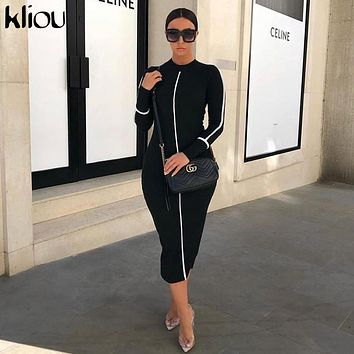 Kliou women dress turtleneck full sleeve casual long dresses 2019 fashion striped patchwork ladies skinny vacation clothes