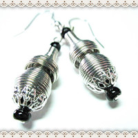 Springy Silver Earrings~Silver Beaded Earrings With Silver End Caps And Black Beads~Women's Silver Beaded Earrings