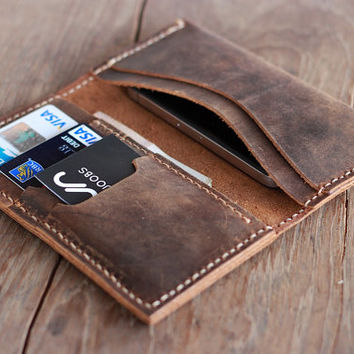 Leather Wallet -- Groomsmen Gift -- iPhone 5 Wallets for Men