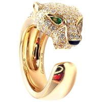 Cartier Panther Panthere Emerald Onyx Diamond Gold Band Ring