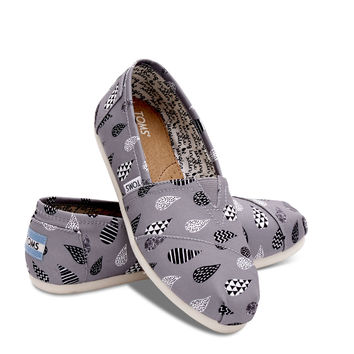 GREY CANVAS RAINDROP PRINT WOMEN'S CLASSICS