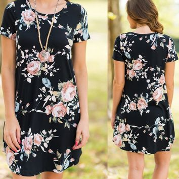 Summer Print Short Sleeve Round-neck With Pocket One Piece Dress [274459590685]