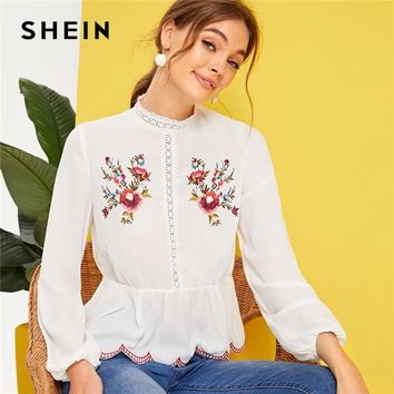 d8332518505bad SHEIN Mock-Neck Lace Insert Embroidered Detail Top White Spring Summer  Stand Collar Ruffle Hem