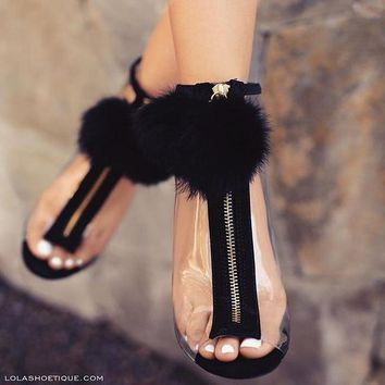 Stiletto Heel PU Peep-toe Fur Decorate Zipper Sandals