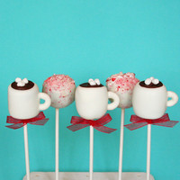 6 Peppermint Mocha Mug Cake Pops Set for Winter party favors, Christmas, wedding, hostess or teacher gift for coffee or Starbucks lover