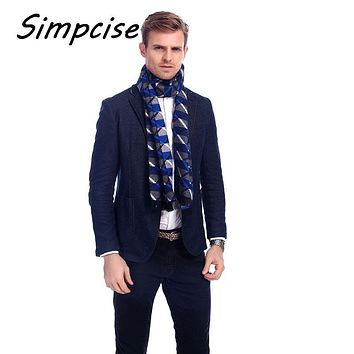 [Simpcise] 180x30cm Winter Men Neck Scarves soft Warm Plaid Stripe Cashmere Scarf British Style Multifunctional Bandana A3A1899