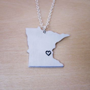 Hand Stamped Heart Minnesota State Sterling Silver Necklace / Gift for Her