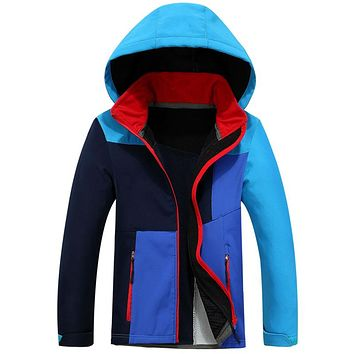 Waterproof Windproof Child Coat Sporty Soft Boys and Girls Tech Jackets Polar Fleece Warm Children Outerwear Clothing For 4-12T