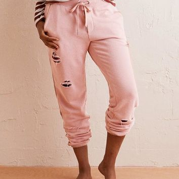 New Pink Pockets Cut Out Drawstring Fashion Long Pants