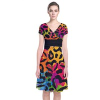 Colorful Hearts Camo Short Sleeve Front Wrap Dress