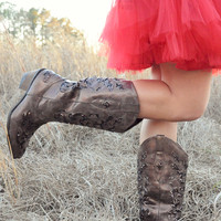 Carved With Love Boots: Dark Brown