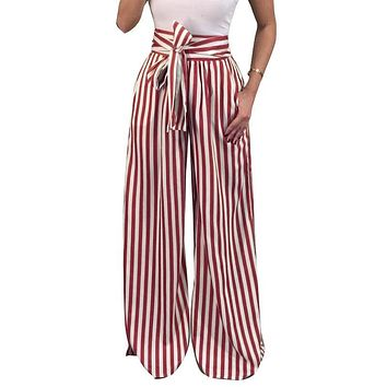 Women 2017 Autumn Wide Leg Pants Fashion OL High Waist Pants  Bow Tie Vintage Strips Printed Casual Loose Trousers WS4032Y