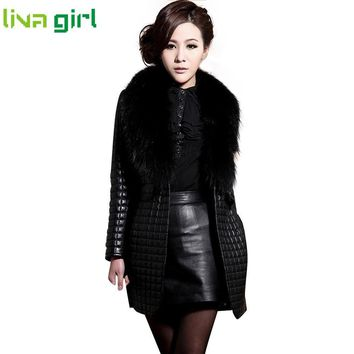 Women Fashion Winter New Faux Leather Fur Charming Long Sleeve Coat Prteey Stylish Outerwear Overcoat Suede Abrigo Oct27