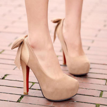 women high heels shoes platform shoes bow sys-936