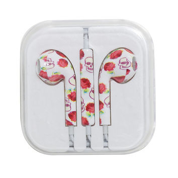 MiCase Skull And Rose Print Ivory Earbuds