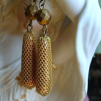 Long Dangle Earrings Vintage Mesh Bronze Copper Wire Beads Unique Dangling Jewelry