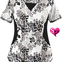 Lavish Leopard White Print Scrub Top & Stretch Scrubs