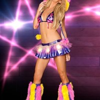 Pink, Purple and Yellow LED Rave Skirt Outfit : Light-up Raver Clothing from RaveReady.com