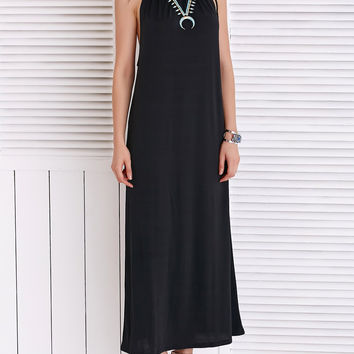 Chic Strappy Black Loose-Fitting Maxi Dress
